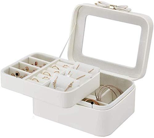 OH Caja de Joyería Caja de Joyería Portátil Regalo de Viaje para Niñas Mujer Caja 2 Capas Joyas de Exhibición de Joyería Caja de Alenamiento Caja de Joyería Moda/Rosado/Free siz