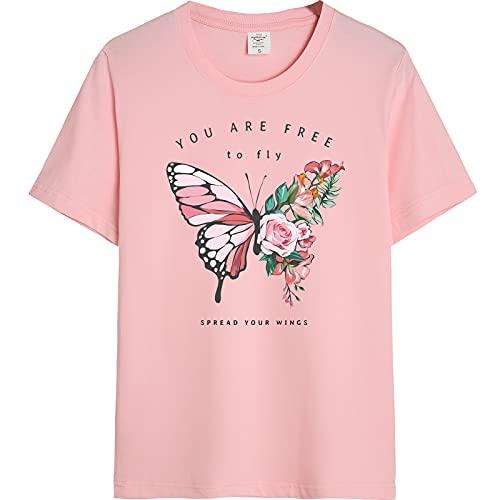 shirts Jones Vintage Moda Mariposa Impresión De Gran Tamaño De Algodón Puro T Graphic Tees Mujeres T Linda Tops Ropa