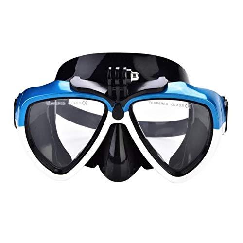 MHSHKS Máscaras De Buceo Máscara De Esnórquel Máscara De Snorkel Gafas De Buceo Antivaho Subacuáticas Gafas De Natación con Soporte para Cámara De Deportes De Acción (Color : Blue)