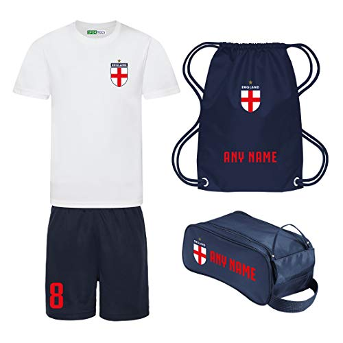Sportees Retro Kids Personalised White And Navy England Style Home Football Kit Bundle With FREE Gym Bag Boot Bag Youth Football England Boys Or Girls Football Jersey 56 Years