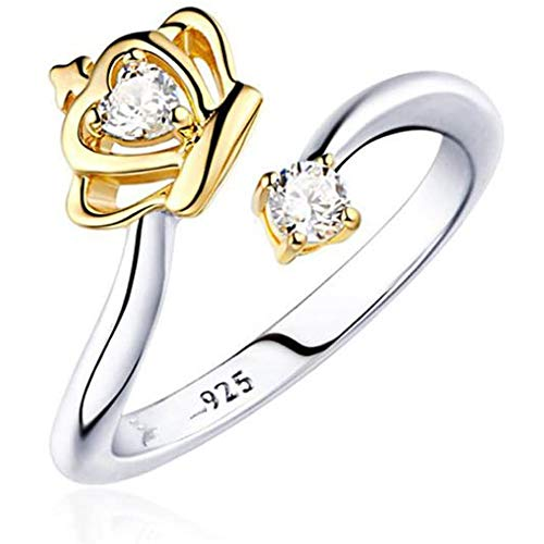 LJWJ Rings Elegant Women Ring Crown Creative Jewelry,Girls Exquisite Birthday Gifts Lovers/Gold/Opening