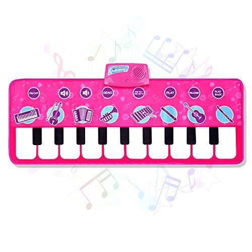 Sanlinkee - Tappetino per pianoforte, per bambini, con 10 demo e 8 strumenti musicali, ideale come regalo per 1, 2, 3, 4, 5 anni, 100 x 36 cm