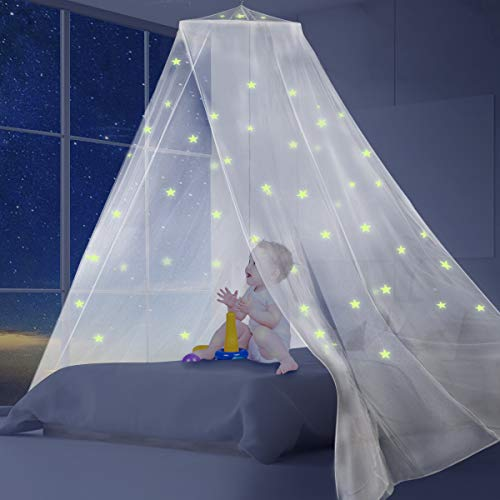 AMMER Fluorescent Stars White Bed Canopy for Baby, Kids, Boys Girls,Good Protection for Indoor and Outdoor Camping,Mesh Screen House Mosquito Net Tent for King Size Bed