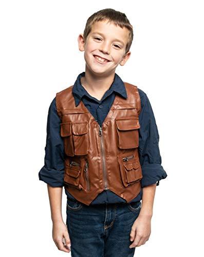 ComfyCamper Jurassic Dinosaur Hunter Wrangler Cosplay Leather Vest for Men Boys, 8-10 Years