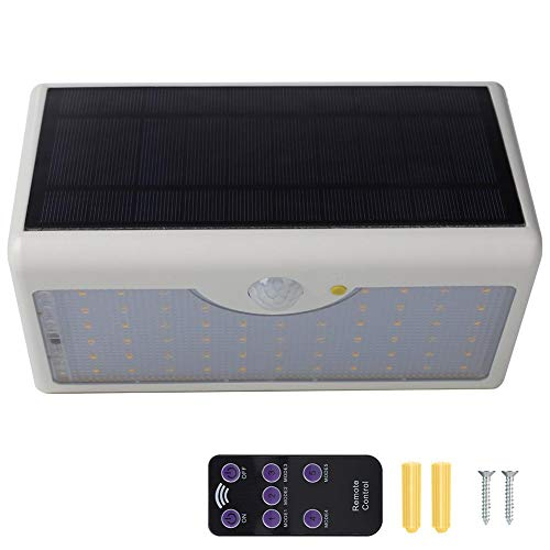 Jadpes Lamp op zonne-energie, afstandsbediening op zonne-energie, 60 leds, inductiewandlamp voor de tuin