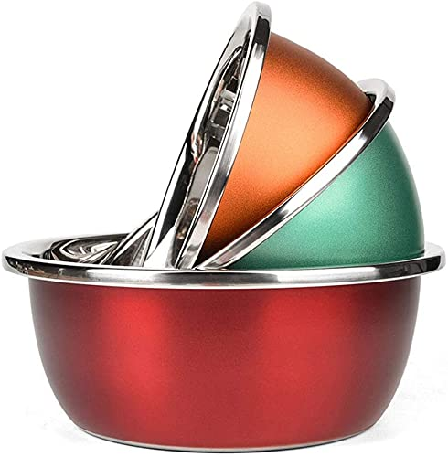 HMY 3-piece mixing bowl for baking, colourful chrome steel kitchen cooking provides for making ready heat food-saving area and dishwasher protected, (Size : 24+26+28cm)