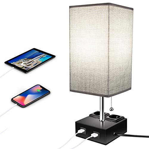 Qucover Nachttischlampe mit Ladefunktion, E27 Tischlampe mit USB-Anschluss, Tischleuchte mit Schalter & EU-Stecker für Schlafzimmer Wohnzimmer, Grau Modern
