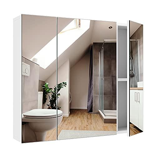 Bathroom Wall Mirror Cabinet, 27.6 X 23.6 Inch Medicine Cabinet with 3 Doors Multipurpose Space Saver Storage Organizer Adjustable Shelves Kitchen Cupboard, White