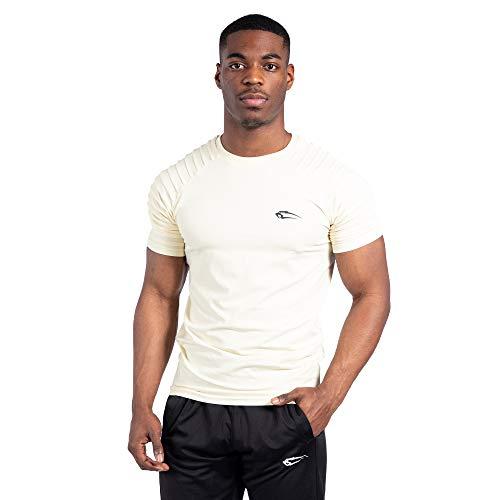 SMILODOX Herren T-Shirt Ripplez | Kurzarm | Casual Top | Funktionsshirt für Sport Fitness Gym & Training | Trainingsshirt - Laufshirt - Sportshirt mit Logo, Größe:XXL, Farbe:Beige