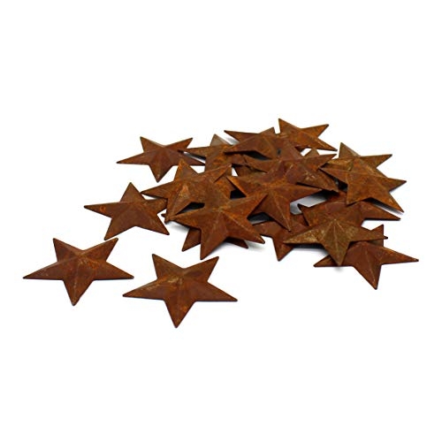 CVHOMEDECO. Primitives Rustic Country Décor. Rusty Small Metal Barn Star Home Decorative Accents, 2 Inch, Set of 24