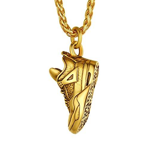 Richsteel vergoldet Herren Sportschuhe Anhänger Männer Sportschuh Halskette mit Geschenkebox für jeden Tag