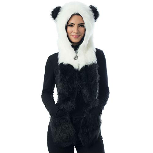 Panda Animal Hood, Mittens, Gloves,Scarf, Furry Hoodie