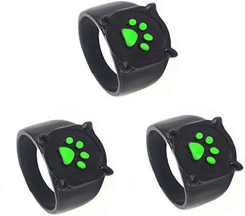 3PCS Cat Noir Ring Anime Cosplay Disfraz Accesorios de aleación de zinc, Ladybug Ring Green Paw Print Ring, Anillos de moda para niños Adultos Cosplay (5)