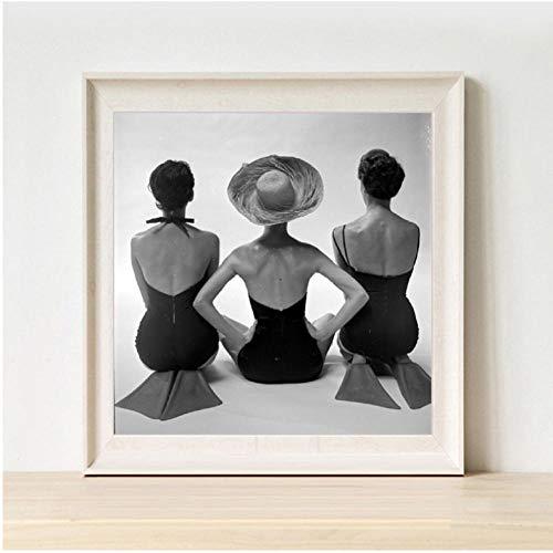 Zwart en Wit Oude Fotografie Vrouw Posing Prints Badpakken Vintage Mode Poster Canvas Schilderij Badkamer Thuis Muurdecoratie Muur Art 30x30cmx1 unframed