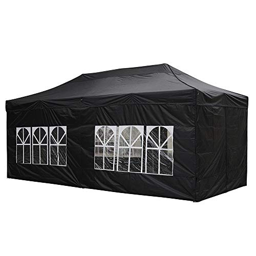Instahibit Ez Pop Up Canopy Tent 10x20 Ft with 4 Sidewall Outdoor Portable Party Wedding Instant Shelter Carry Bag Black