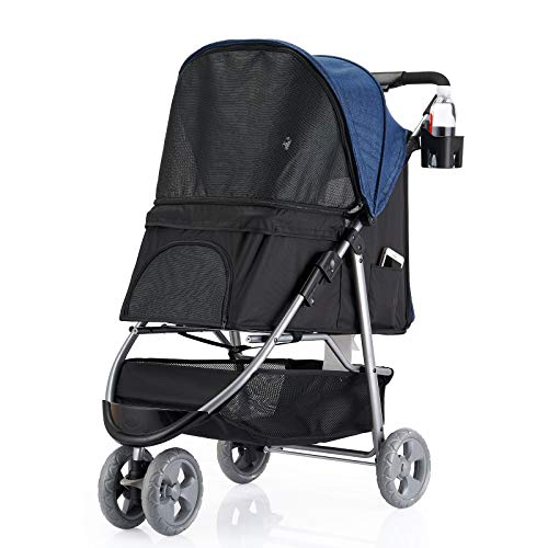 Favon 3 Wheel Pet Strollers for Small Medium Dogs & Cats,Jogging Stroller Hiking Stroller Travel...