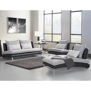 Hot Sale Homelegance Renton 3 Piece Upholstered Living Room Set In Black & Grey