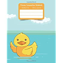 Primary K2 Composition Notebook: For Kids K-2 Grades Story Journal | Picture Space and Dashed Midline Animals Yellow Duck Cover