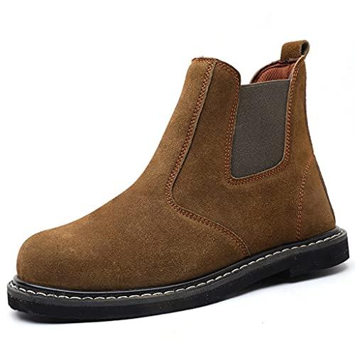 Zapatos de Trabajo Soldador de Hombres Botas de Seguridad de Soldadura, Tapa de Punta de Acero y Zapatos de Trabajo de Metal Izquierdo, Cuero de Gamuza Ligero/neumático Antideslizante Suela/indust