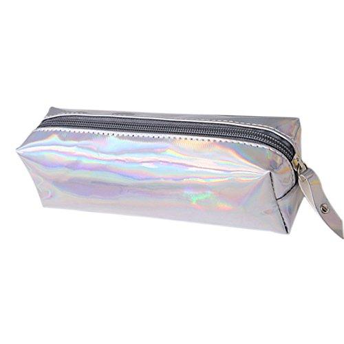 Fablcrew - Trousse de grande capacité, brillante à fermeture éclair pour stylos ou produits de maquillage - Idéal pour la maison, l'école, le bureau 19 * 9 * 6CM silver