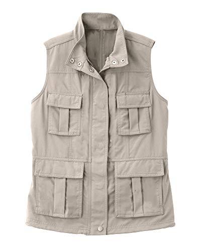Mens Casual Utility Travels Sports Outdoor Vest Work Safari Fishing Cargo Waistcoat Sleeveless Pockets Jacket Beige