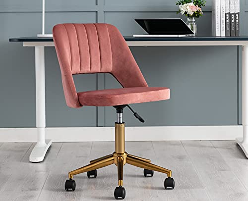 ZH4YOU Modern Armless Desk Chair Vanity Stool for Teen Girls, Hollow Back Task Chair Study Chair Sewing Chair with Gold Base for Home Office/Bedroom/Living Room (Pink)