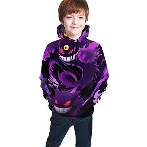 P-Oke-M-On A-M-in-O Youth Sweatshirt Casual Print Sweatshirts Hoodies Pullover Unisex Hooded Sweatshirt for Boys Girls Black