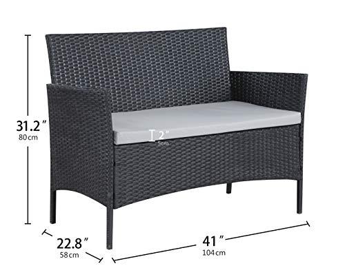 Salbay Rattan-Gartenmöbel-Set für Terrasse, Wintergarten, drinnen und draußen, 4-teiliges Set mit Tisch und Stuhl und Sofa - 6
