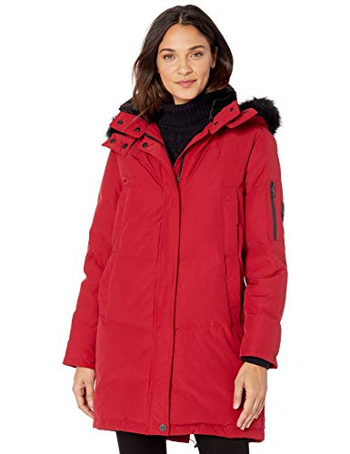 Vince Camuto Women's Long Heavyweight Warm Winter Coat Parka, Rio Red, Small
