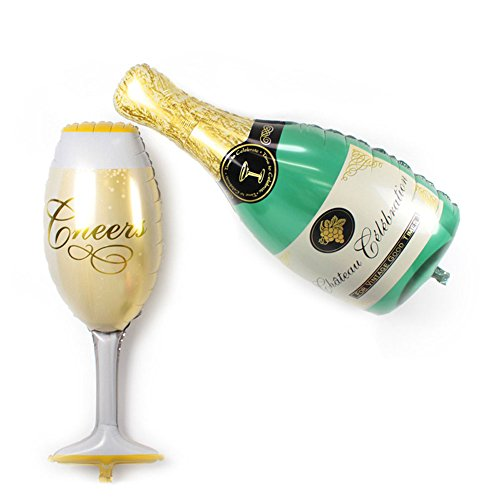FECEDY Aluminum Film Champagne Bottle and Goblet Hydrogen Balloons for Party Decoration