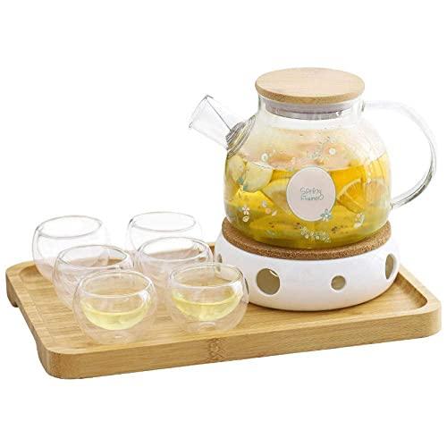 CCAN Juego de Taza y platillo Juego de té de Porcelana Juego de té de la Tarde Adecuado para Tetera de Flores de Burbujas de Vidrio de Alta Temperatura Interesting Life