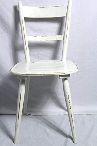 Shabby Stuhl alter Küchenstuhl/Holzstuhl/Stuhl/Bauernstuhl creme weiß 60er Jahre Landhaus Vintage Shabby Chic Möbel