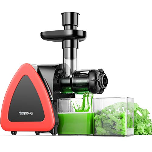 Homever Low Speed Masticating Juicer Extractor, BPA Free Cold Press Juicer, Quite Motor, with Cleaning Brush, Bigger Container, High Nutrient...