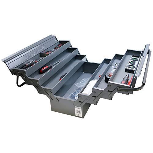 Klassischer Werkzeugkasten aus Metall Hemmdal (leer) - Werkzeugkoffer XXL aufklappbar & abschließbar, 6 Fächer - 52,5 x 20 x 25 cm - Premium Werkzeugkiste ohne Werkzeug
