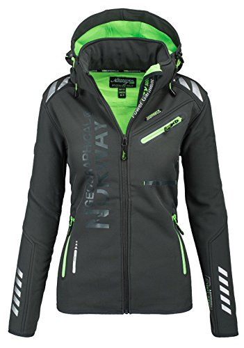 Geographical Norway Damen Softshell Funktions Outdoor Regen Jacke Sport [GeNo-24-Dunkelgrau-Gr.XXL]