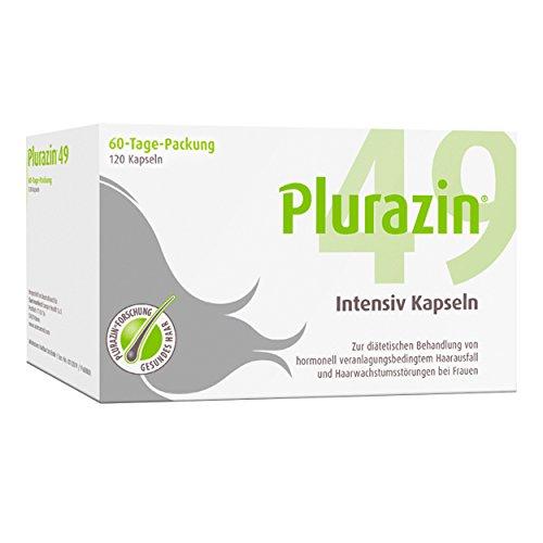 Plurazin 49 Intensiv Kapseln I Bei Haarausfall und Haarwachstumsstörungen in den Wechseljahren, Menopause I Haar Nährstoffe + Vitamine + Mineralien I Arginin, Leinsamen-Extrakt & Koffein - 120 Stück
