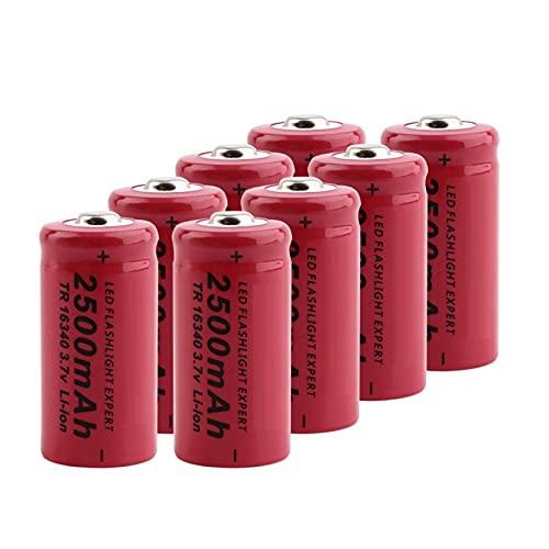 TTCPUYSA Batteria agli Ioni di Litio da 3.7v 2500mah 16340, Ricaricabile per Torcia Frontale con Microfono Power Bank 8pcs