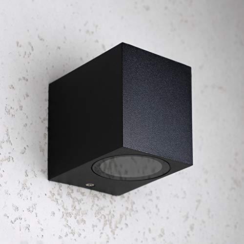 proventa® Außen-Wandleuchte | 1-flammig | GU10-Sockel | Aluminium-Gehäuse | schwarz | für LED und Halogen geeignet