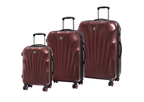 it luggage 3 Piece Set of Momentum 8 Wheel Hard Shell Single Expander Suitcases with TSA Lock Suitcase, 80 cm, 290 liters, Wine/Black Brushed