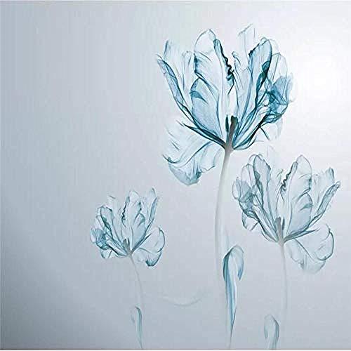 XHXI Efecto de acuarela simple Planta de flor azul Impresión de arte Papel tapiz fotográfico de gran Pared Pintado Papel tapiz 3D Decoración dormitorio Fotomural sala sofá pared mural-200cm×140cm