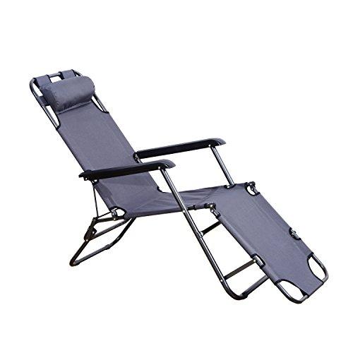 Outsunny Sonnenliege mit Kissen, Klappbare Strandliege, 2-Stufige Gartenliege, 2-in-1 Relaxliege, Metall + Oxfordstoff, Grau 135 x 60 x 89 cm