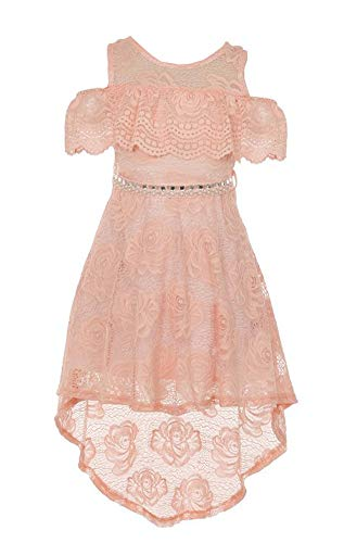 Big Girls Blush Off Shoulder Hi-Lo Floral Lace Rhinestone Flower Girl Swing Summer Dress USA 2176 Size 16