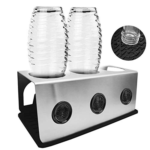 Micool Sodastream - Soporte de acero inoxidable con bandeja de goteo para botellas SodaStream y Emil | Escurreplatos de acero inoxidable con soporte para tapa (3 unidades)