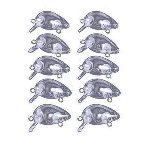 Heinside Diferente 10pcs 1.2G 3cm Señuelos Blanco Transparente Cuerpos sin Pintar Crankbait señuelos de Pesca Wobbler Duro Peces Artificiales Wobbler Útil