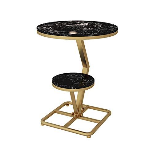 YNN Nordic Side Table 2-Tier Soggiorno Divano Tavolino da caffè in Marmo A Forma di C Supporto in Metallo Dorato per Camera da Letto Balcone, 55 × 70 Cm(Color:Nero)