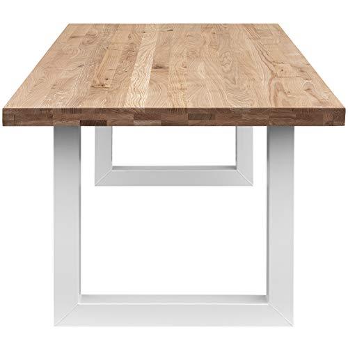 COMIFORT Mesa Comedor - Mueble de Oficina de Roble Macizo Dorado, Canto Recto, Fabricado en Europa, Patas de Acero con Acabado Blanco, Medidas de 140 x 90 cm