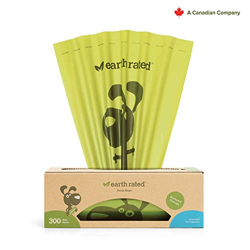 Earth Rated Dog Poop Bags, 300 Dog Waste Bags on a Large Single Roll, Grab and Go, Guaranteed Leak-proof, Unscented, Great for Backyard Pickups, Each Poop Bag Measures 8 x 13 Inches