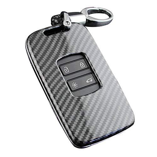 Yunhigh Carbon Fiber Pattern Car Key Case Cover Keychain for Renault Koleos 2017-2019, for Renault Kadjar 2016-2020, for Renault Megane 2016-2019
