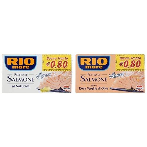 Rio Mare, Filetto di Salmone Al Naturale, Cotto al Vapore, Ricco di Omega 3, 1 Lattina da 125 g +...