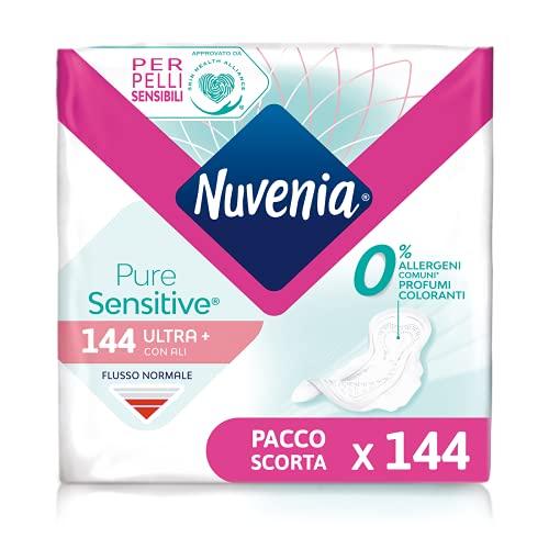 Nuvenia 31272 Pure Sensitive Ultra con alas de día, 12 paquetes de 12 compresas